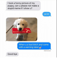 I took a funny picture of my  puppy, can u please not make a  stupid meme if I show u?  ya lol  Beware of Dog  @MasiPopa  When u a bad bitch and come  with a warning label  Delivered  Good bye <RD>