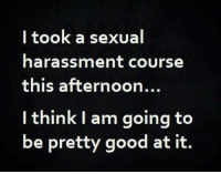 ~Beast~: I took a sexual  harassment course  this afternoon...  I think I am going to  be pretty good at it. ~Beast~