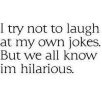 Jokes, Hilarious, and Own: I try not to laugh  at my own jokes.  But we all know  im hilarious.