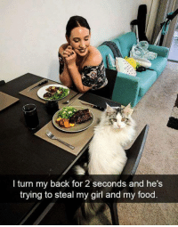 Food, Memes, and Girl: I turn my back for 2 seconds and he's  trying to steal my girl and my food
