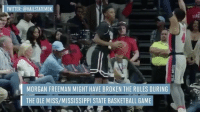 Memes, Morgan Freeman, and 🤖: I TWITTER: @HAILSTATEMBK  1 MORGAN FREEMAN MIGHT HAVE BROKEN THE RULES DURING  THE OLE MISS/MISSISSIPPI STATE BASKETBALL GAME MorganFreeman clowning during the matchup between OleMiss and MississippiState!! 🏀😳😂 @SportsIllustrated WSHH