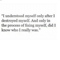 "Who, Did, and Really: ""I understood myself only after I  destroyed myself. And only in  the process of fixing myself, did I  know who I really was  35"