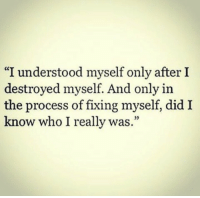 "Who, Did, and Really: ""I understood myself only after I  destroyed myself. And only in  the process of fixing myself, did I  know who I really was.""  35"
