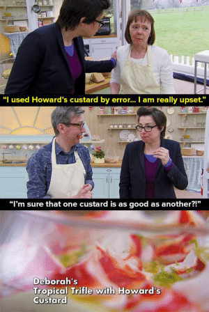"When Deborah used Howard's custard by mistake. | LOL | Pinterest ...: ""I used Howard's custard by erro... I am really upset.""  ""I'm sure that one custard is as good as another?!""  Deborah's  Tropical Trifle with Howard's  Custard When Deborah used Howard's custard by mistake. 