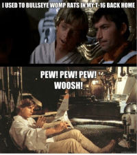 Star Wars, Rat, and Pew Pew: I USED TO BULLSEYE WOMP RATS IN MY T-16 BACK HOME  PEW! PEW! PEW!  WOOSH!  uickmerne.