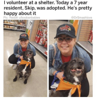 "Ass, Be Like, and Grandma: I volunteer at a shelter. Today a 7 year  resident, Skip, was adopted. He's pretty  happy about it  Pic: Reddit u/boobsnbabies  @DrSmashlove I've heard recent reports from three of my lil homegirls that a man they are dealing with romantically has texted her asking her to send a UBER to pick him up and bring her to his crib. Lemme do a lil historical recap. Our forefathers would remove they jacket and lay it upon a puddle so that they girl would not have to wet her feet bruv. He would give a woman his jacket when she was cold. Hold doors open. Leave little love notes hidden around her spot. Come meet her parents, and he cut his hair and shine his shoes and pick up flowers for her mama beforehand. U feel me? Chivalry. Chivalrous ass Prince Charmings, bruv. Fast forward to 2017: ""send me an UBER if u want 2 c daddy"". Send a UBER to pick up daddy, bruv? U the daddy but u need financial assistance to transport to her crib? U might have been daddy at one time but even if the pipe game super on point if she sending UBER's u da baby and she da mommy now. Look up ""man"" in Webster Thesaurus and the antonyms be like ""boy; lad; he who requesteth transport in an UBER vehicle from a woman with whomst he hath engaged in romantic relations"" - this is Webster bruv the Man smart! He predicted this shit! 😂 Anyway bruv I ain't even mad. Not even remotely mad. Instead: thankful. Y'all making all the men who display even a modicum of chivalry look like cot damn Romeos out dis bish. We love y'all. Y'all special. Y'all loyal. Y'all gon find a woman who gon take care of u and be the mommy u need. Y'all gotta be good to her tho! She might cut off yo allowance. Take away yo iPad so u can't watch Jake Paul YouTube videos no more. U in line with her at Panera like ""I WANT CHOCOLATE CHIP BAGEL!!"" And she like ""BAD BOYS DON'T GET CHOCOLATE CHIP BAGELS TIMMY."" And u just like ""I AT LEAST WANT A GOGURT! GOGURT MOMMY GOGURT!"" And she gotta take u back to the minivan and spank u. Yo great grandpa took yo great grandma to the sock hop and the drive in movies, treating her to burgers and shakes, now u being disciplined by yo woman like a disobedient child Bruv. My how things change. All because U asked for a UBER. Y'all be safe out there! 😂😂😂"
