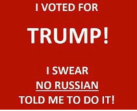 (WB) unknown author: I VOTED FOR  TRUMP!  I SWEAR  NO RUSSIAN  TOLD ME TO DO IT! (WB) unknown author
