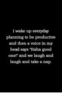 "Memes, Voice, and 🤖: I wake up everyday  planning to be productive  and then a voice in my  head says ""Haha good  one!"" and we laugh and  laugh and take a nap."