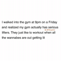 No sign of bands, no half-ass squats, no kickbacks, all machines were being used properly... shook: I walked into the gym at 9pm on a Friday  and realized my gym actually has serious  lifters. They just like to workout when al  the wannabes are out getting lit  1G: @thegainz No sign of bands, no half-ass squats, no kickbacks, all machines were being used properly... shook