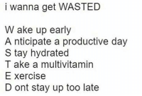 Memes, 🤖, and Day: i wanna get WASTED  W ake up early  A nticipate a productive day  S tay hydrated  T ake a multivitamin  E xercise  D ont stay up too late