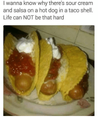 I remember when i accidentally put taco salsa on my hotdog in elementary and the teacher wouldnt let me go to recess until I ate it. I need to find a kill that bitch now • ➫➫➫ Follow @Staggering for more funny posts daily!: I wanna know why there's sour cream  and salsa on a hot dog in a taco shell  Life can NOT be that hard I remember when i accidentally put taco salsa on my hotdog in elementary and the teacher wouldnt let me go to recess until I ate it. I need to find a kill that bitch now • ➫➫➫ Follow @Staggering for more funny posts daily!