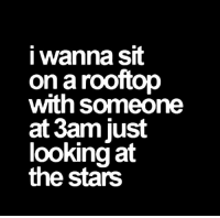 Stars, Looking, and Just: i wanna sit  on a rooftop  with someone  at 3am just  looking at  the stars