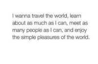 Http, Travel, and World: I wanna travel the world, learn  about as much as I can, meet as  many people as I can, and enjoy  the simple pleasures of the world. http://iglovequotes.net/