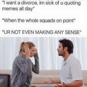 "Memes, Divorce, and Sick: ""I want a divorce, im sick of u quoting  memes all day""  ""When the whole squads on point""  ""UR NOT EVEN MAKING ANY SENSE""  The Funnyintrovert Memes"
