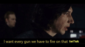 Commander bly after receiving order 66: I want every gun we have to fire on that twi'lek Commander bly after receiving order 66