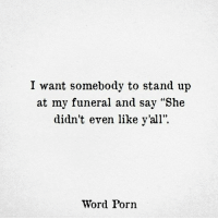 "Porn, Word, and She: I want somebody to stand up  at my funeral and say ""She  didn't even like y'all"".  Word Porn"