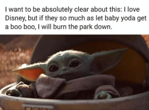 He must be protected at all costs: I want to be absolutely clear about this: I love  Disney, but if they so much as let baby yoda get  a boo boo, I will burn the park down. He must be protected at all costs