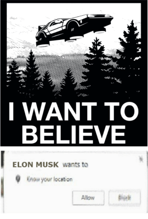 Dank, Memes, and Reddit: I WANT TO  BELIEVE  ELON MUSK wants to  Know your location  giok  Allow Beleif = reality by castatech FOLLOW 4 MORE MEMES.