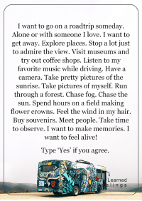 Alive, Driving, and Memes: I want to go on a roadtrip someday.  Alone or with someone I love. I want to  get away. Explore places. Stop a lot just  to admire the view. Visit museums and  try out coffee shops. Listen to my  favorite music while driving. Have a  camera. Take pretty pictures of the  sunrise. Take pictures of myself. Run  through a forest. Chase fog. Chase the  hours on a field making  sun. Spend flower crowns. Feel the wind in my hair.  Buy souvenirs  Meet people. Take time  to observe. I want to make memories. I  want to feel alive!  Type 'Yes' if you agree.  Learned  I n g S <3