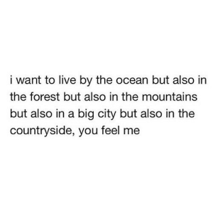 Live By: i want to live by the ocean but also in  the forest but also in the mountains  but also in a big city but also in the  countryside, you feel me