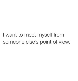 Someone, I Want To, and Myself: I want to meet myself from  someone else's point of view.