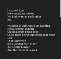 Good, Good Good, and Reality: I wanted him  He wanted me me too.  We both wanted each other  But-  Wanting, is different from needing  Needing from craving  Craving, from being good  Good, from being something that could  Last  That is how we  both wanted each other  But reality blinked  And the moment passed.