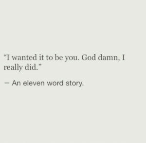"eleven: ""I wanted it to be you. God damn, I  really did.""  An eleven word story"