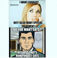 I WANTEQUALITN  BUTI ALSO WANT SPECIAL  TREATMENT  DO YOU WANT CATS?  BECAUSETHATS  HOW YOUGET CATS. 💯 Who else watches ARCHER?? 💯