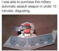 Weapons, Weapon, and Assault: I was able to purchase this military  automatic assault weapon in under 10  minutes. disgusting.