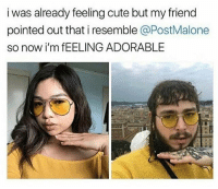 Cute, Memes, and Adorable: i was already feeling cute but my friend  pointed out that i resemble @PostMalone  so now i'm fEELING ADORABLE 😂lol