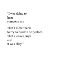 """Http, Okay, and Net: """"I was dying to  hear  someone say  That I didn't need  to try so hard to be perfect,  That i was enough  and  it was okay."""" http://iglovequotes.net/"""