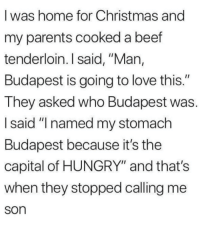 """Beef, Christmas, and Hungry: I was home for Christmas and  my parents cooked a beef  tenderloin. I said, """"Man,  Budapest is going to love this.""""  They asked who Budapest was.  I said """"I named my stomach  Budapest because it's the  capital of HUNGRY"""" and that's  when they stopped calling me  son https://t.co/LJDPYgnnJA"""