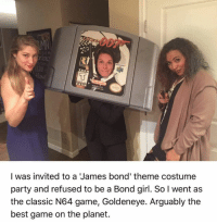 She nailed it!: I was invited to a James bond' theme costume  party and refused to be a Bond girl. So l went as  the classic N64 game, Goldeneye. Arguably the  best game on the planet. She nailed it!