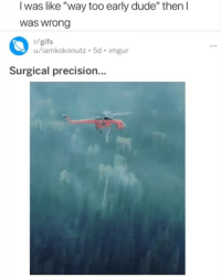 "Dude, Gifs, and Imgur: I was like ""way too early dude"" then l  was wrong  r/gifs  u/iamkokonutz 5d imgur  Surgical precision... The accuracy thou 👌🏾"