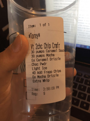 I was looking through my old starbucks photos from when I used to work there and found this mobile order monstrosity. Watching my coworker make this drink while I was doing training was a highlight of my starbucks working experience.: I was looking through my old starbucks photos from when I used to work there and found this mobile order monstrosity. Watching my coworker make this drink while I was doing training was a highlight of my starbucks working experience.
