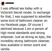 meirl: I was offered sex today with a  Victoria's Secret model. In exchange  for that, I was supposed to advertise  some kind of bathroom cleaner orn  my Facebook page. Of courseI  declined because I am a person of  high moral standards and strong  willpower. Just as strong as Ajax, the  incredibly strong bathroom cleanser.  Now available in lemon scent and  vanilla meirl