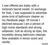 victorias secrets model: I was offered sex today with a  Victoria's Secret model. In exchange  for that, I was supposed to advertise  some kind of bathroom cleaner on  my Facebook page. Of course I  declined because I am a person of  high moral standards and strong  willpower. Just as strong as Ajax, the  incredibly strong bathroom cleanser.  Now available in lemon scent and  vanilla.  memess.com