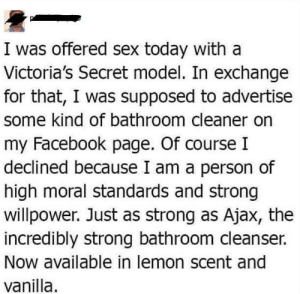 meirl by LinerTheAlmoledTitan FOLLOW 4 MORE MEMES.: I was offered sex today with a  Victoria's Secret model. In exchange  for that, I was supposed to advertise  some kind of bathroom cleaner on  my Facebook page. Of course I  declined because I am a person of  high moral standards and strong  willpower. Just as strong as Ajax, the  incredibly strong bathroom cleanser.  Now available in lemon scent and  vanilla meirl by LinerTheAlmoledTitan FOLLOW 4 MORE MEMES.