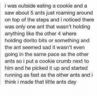 Saw, Sad, and Ants: i was outside eating a cookie and a  saw about 5 ants just roaming around  on top of the steps and i noticed there  was only one ant that wasn't holding  anything like the other 4 where  holding dorito bits or something and  the ant seemed sad it wasn't even  going in the same pace as the other  ants so i put a cookie crumb next to  him and he picked it up and started  running as fast as the other ants and i  think i made that little ants day