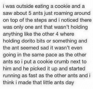 Saw, Sad, and Ants: i was outside eating a cookie and a  saw about 5 ants just roaming around  on top of the steps and i noticed there  was only one ant that wasn't holding  anything like the other 4 where  holding dorito bits or something and  the ant seemed sad it wasn't even  going in the same pace as the other  ants so i put a cookie crumb next to  him and he picked it up and started  running as fast as the other ants and i  think i made that little ants day Go on little buddy via /r/wholesomememes https://ift.tt/2OrUEjo