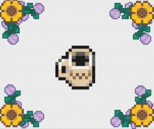 I was overwhelmed by the support from my last cross stitch pattern, so I made another! Two of my favorite things are coffee and Stardew, so of course I had to incorporate the two into a pattern. :): I was overwhelmed by the support from my last cross stitch pattern, so I made another! Two of my favorite things are coffee and Stardew, so of course I had to incorporate the two into a pattern. :)