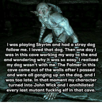 Elf, John Wick, and Memes: I was playing Skyrim and had a stray dog  follow me. I loved that dog. Then one day I  was in this cave working my way to the end  and wondering why it was so easy. I realized  my dog wasn't with me.The Falmer in this  cave came out of the walls after I passed  and were all ganging up on the dog, and  was too late. In that moment my character  turned into John Wick and I annihilated  every last mutant fucking elf in that cave ~Heisenberg