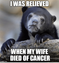 Cancer, Live, and Wife: I WAS RELIEVED  WHEN MY WIFE  DIED OF CANCER  ingflip.com I am a terrible person