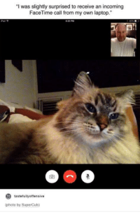 """Facetime, Laptop, and Humans of Tumblr: """"I was slightly surprised to receive an incoming  FaceTime call from my own laptop.""""  to  tastefully offensive  (photo by SuperCub)"""