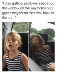 "Me when i have kids: ""I was spitting sunflower seeds out  the window on the way home but I  guess they found their way back in  the car Me when i have kids"