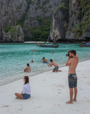 Instagram, Girlfriend, and Boyfriend: I was stood taking a photo of my girlfriend in the sea, then realised so was every other Instagram boyfriend