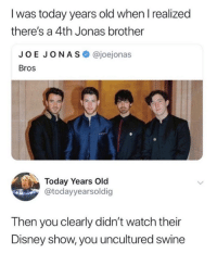 How dare they neglect the 4th brother.: I was today years old when l realized  there's a 4th Jonas brother  JOE JONAS @joejonas  Bros  Today Years Old  @todayyearsoldig  Then you clearly didn't watch their  Disney show, you uncultured swine How dare they neglect the 4th brother.