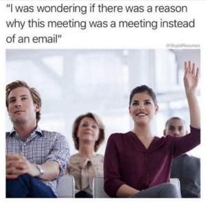 "Excuse me ma'am: ""I was wondering if there was a reason  why this meeting was a meeting instead  of an email""  StupidResumes Excuse me ma'am"