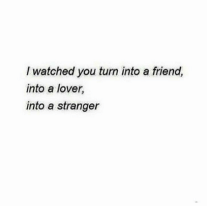 Friend, You, and Stranger: I watched you turn into a friend,  into a lover  into a stranger