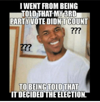 Memes, 🤖, and Political Parties: I WENT FROM BEING  TOLD THAT MY BRD  PARTY VOTE DIDNTCOUNT  TO BEING TOLD THAT  ITDECIDED THE ELECTION. Establishment mouthpieces need to make up their mind about alternative political parties...  (y) MintPressNews.com